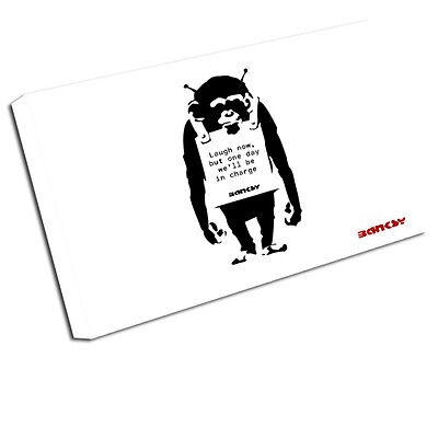 Banksy Canvas Print Laugh Now Wall Art Picture Ba4