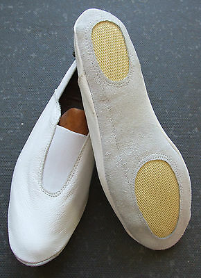 White Leather Gymnastic Shoe Slippers Trampolining Training Dance Cushioned Sole