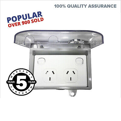 Waterproof Double Power Point + Weatherproof Box Lock Clear Lid GPO Outdoor NEW