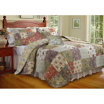 Beautiful Xxl Over-Sized Antique Blue Purple Red Floral Patchwork Bedspread Set