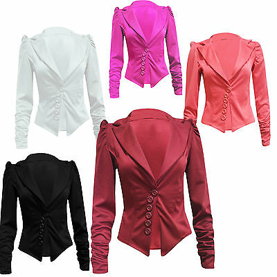 New Women's Long Ruched Sleeve 6 Button Front Panel Slim Fit Blazer Jacket Coat