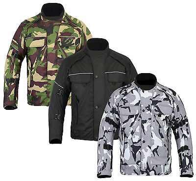 Grey Green Camouflage CE Armoured Waterproof Motorcycle Motorbike Cordura Jacket