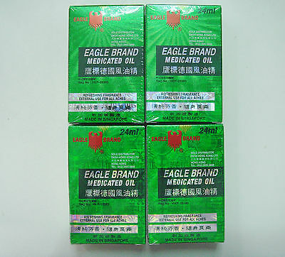 4 X Eagle Brand Medicated Oil 24Ml Pain Relief Singapore
