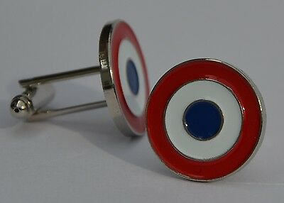 French Airforce Roundel Cocarde Tricolore Target Quality  Enamel Cufflinks