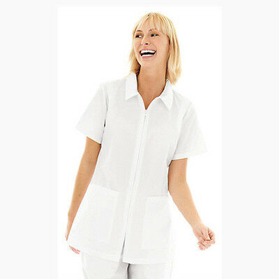 Landau Women Collared Zipper Front Student  Solid Scrub Top Style 8058 All Sizes