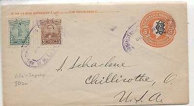 Mexico. Prestamped Cover To Usa. Orange 5 + Added Brown 3 + Green 2. Violet Cd's