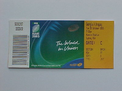 2003 Rugby World Cup RWC - Georgia v Uruguay - Complete Ticket - MINT CONDITION