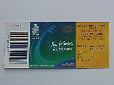 2003 Rugby World Cup RWC 1/4 FINAL New Zealand South Africa Complete Ticket MINT
