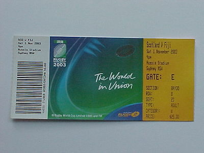 2003 Rugby World Cup RWC - Scotland v Fiji - Complete Ticket - MINT CONDITION