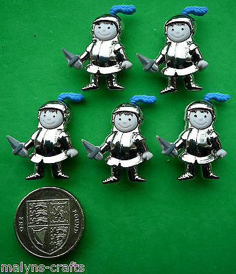 KNIGHTS Craft Novelty Buttons 1ST CLASS POST Children Silver Toy Fairytale Boy