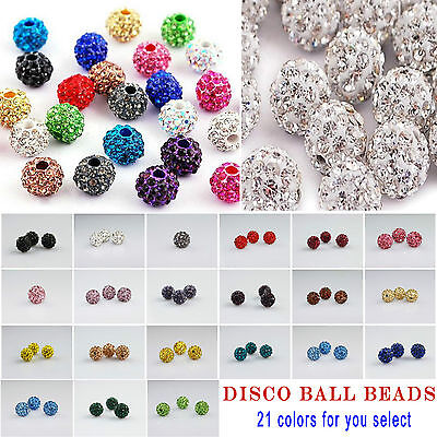 6MM Rhinestones Pave Clay Disco Ball Beads CZ Crystal Fit DIY Shamballa Bracelet