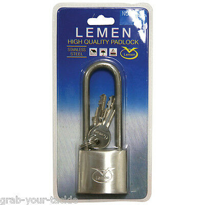 Security Padlock Long 50mm Shank Stainless steel Marine Home Boat Trailer new