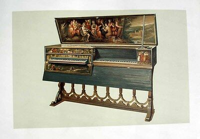 1888 Fine Art Litho DOUBLE VIRGINAL BY HANS RUCKERS, Instrument now at Yale RARE