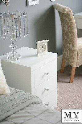 MY-Furniture White Mirrored Glass Bedside Table cabinet 3 drawer Chelsea white
