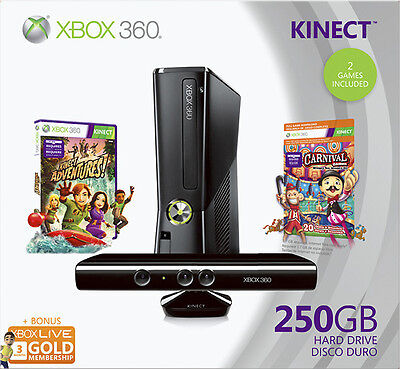 -/*BRAND NEW*- xBox 360 Slim 250GB KINECT Game HOLIDAY BUNDLE w/ 2 Games!