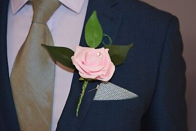 Artificial BABY PINK Silk Foam Rose, Diamante, Wedding Groom Buttonhole Flower