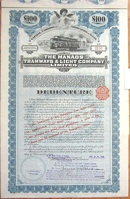 1909 Trolley/Railroad Bond Certificate: 'Manaos Tramways & Light Co.' - Brazil