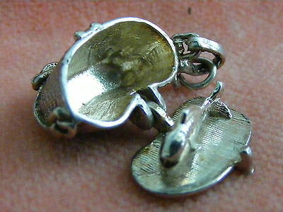 Vintage Sterling Silver Charm Wicker Basket Opens To A Fish
