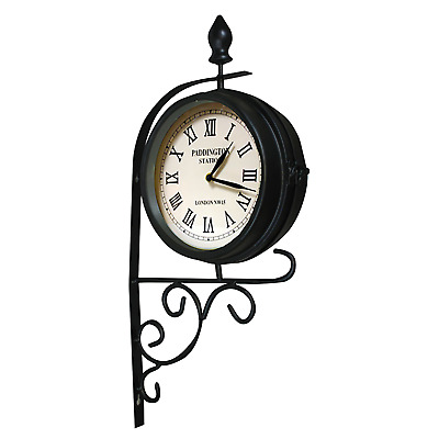 Traditional Garden clock victorian station clock double faced outdoors indoors