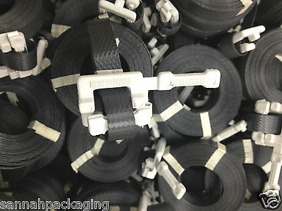 """12 Poly Straps Pre-Cut 1/2""""x17' Buckle attached Black"""