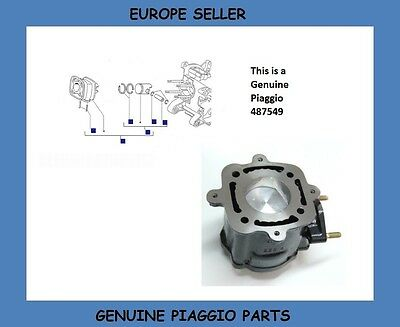 Gilera Runner 125 SP/FX 2T & Piaggio Hexagon 125 2T Genuine Cylinder Assy 487549
