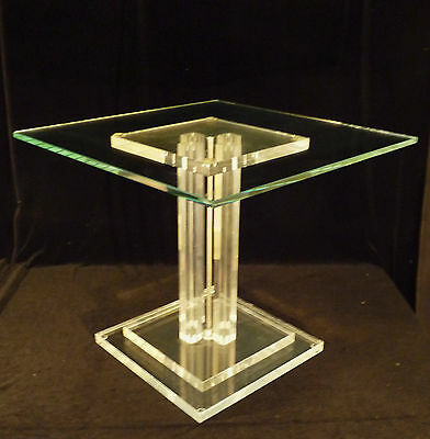 Vintage Architectural Mid-Century Modern Glass Geometric Acrylic Lucite Table