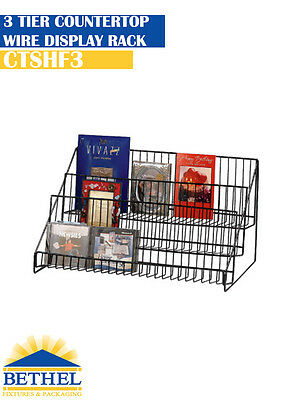 Book Dvd Literature Wire Countertop Display Shelf Rack 3 Tier- Ctshf3