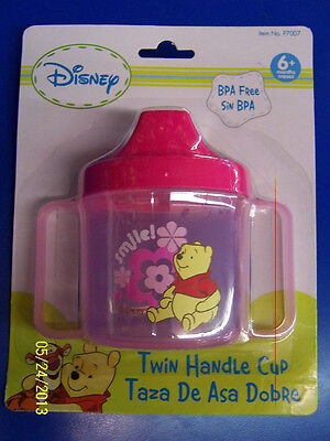 Winnie the Pooh Plastic Twin Handle Sippy Cup Baby Shower Party Gift - Pink