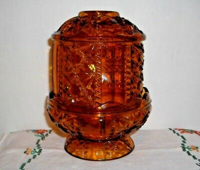 """Vintage Indiana Stars & Bars Fairy Candle Lamp~Amber Glass~6-1/4"""" H, 4-3/4""""w"""