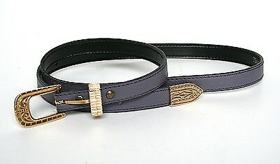 S - Vintage skinny belt - 80s western style belt in violet purple
