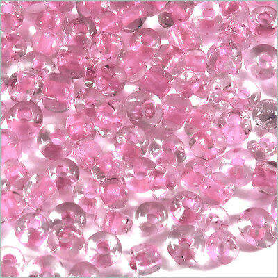 Perles de Rocailles en verre Transparent 4mm Centre Rose 20g (6/0)