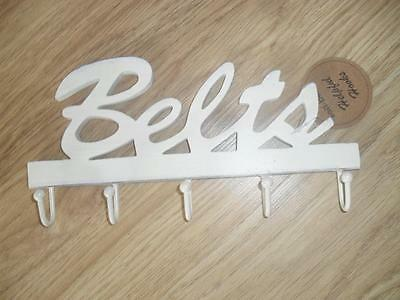 New Sass & Belle Shabby Chic Vintage Distressed Cream Belts Hook