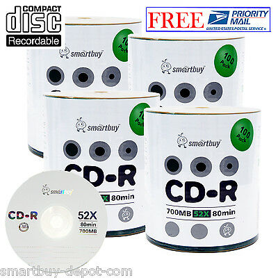 400 Pack Smartbuy 52X CD-R 700MB/80Min Logo Top Blank Media Data Recordable Disc