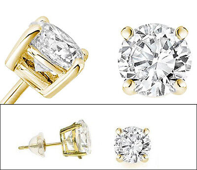 Solitaire Basket Stud Earrings in Solid 14k Yellow Gold and Round Cubic Zirconia