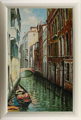 "Oil Painting Seascape Venice River Boats Art on Canvas 24""x36"" V7"