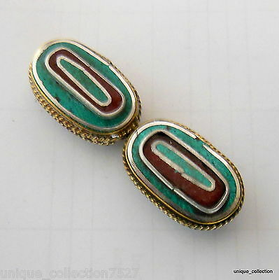 BD-92 Handmade Nepalese Tibetan Unique Brass Beads inlaid with Turquoise Coral