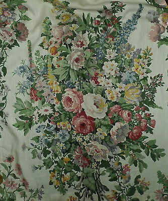 CLARENCE HOUSE Bouquet Floral Hand Block Print Linen Thailand Multi New 2 yds+