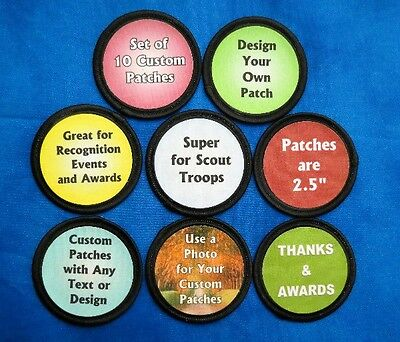 """10 Custom Printed Fabric Patches 2.5"""" Round You Choose the Design and Text"""