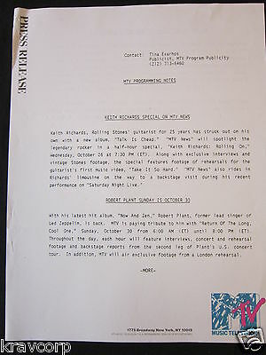 The Cure/robert Plant/keith Richards—1988 Mtv Press Release