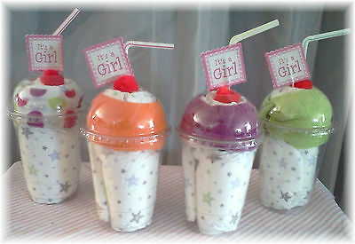 "Baby Shower Girl ""It's A Girl"" MIlkshake x4!!! Diaper Cake Alternative"