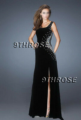 Embrace Your Diva! Beaded Black Netting Cutout Formal/Evening/Prom; M Au 10/Us 8