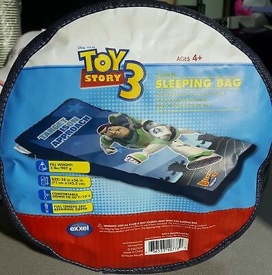 """Disney Pixar Toy Story 3 Camping Sleeping Bag 28"""" x 56"""" for Ages 4+ NEW Buzz"""