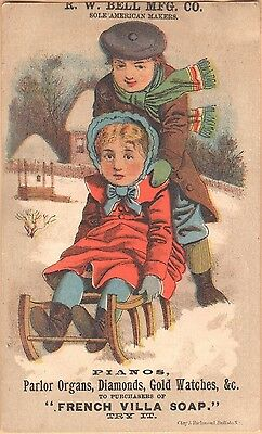 Victorian Trade Card-Hamilton Furniture-Springfield, MA-Boy Pushing Girl on Sled