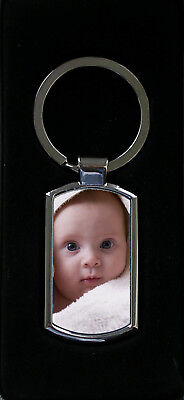 Personalised Photo Keyring Metal Custom Printed complete with Gift box