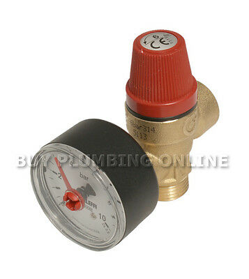 """Altecnic Safety Relief Valve 6 Bar 1/2"""" with Gauge M x F 314460"""