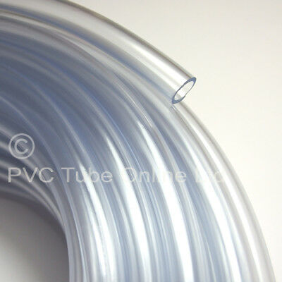 "10mm I.D. Flexible Poly Tube Clear Plastic PVC Hose/Pipe -Food Grade- 3/8"" inch"