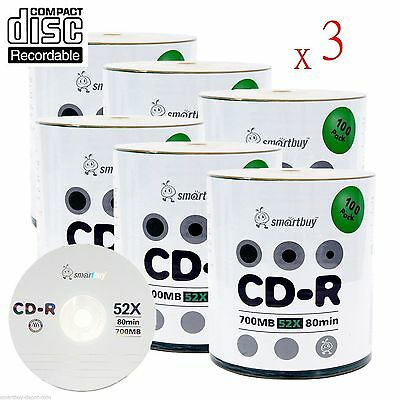 1800-Pack SmartBuy Blank CD-R CDR 52X 700MB/80Min Logo Surface Recordable Disc