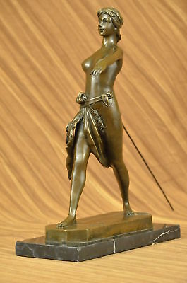Diana Artemis The Huntress Greek Roman Goddess 100% Bronze Statue On Marble Wow