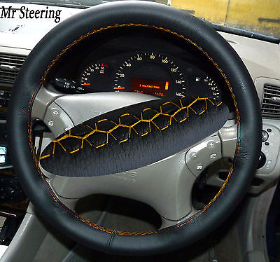 Fits Mercedes-Benz Vario W670 94-08 Leather Steering Wheel Cover Yellow Stitch