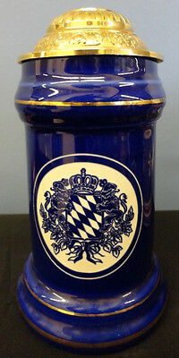 """Domex Germany Lidded Beer Stein Blue & Gold 8"""""""